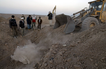AN EXCAVATOR IS BEING USED TO CLOSE A MASS GRAVE IN BAM, IRAN.