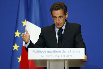 France's President Sarkozy delivers a speech about the nation's maritime policy in the port city of Le Havre