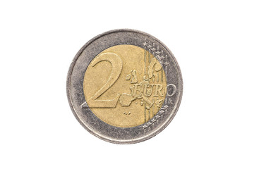 Old used and worn out 2 euro coin.