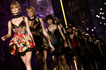 Models present creations as part of Just Cavalli Fall/Winter 2006/07 women's collections during Mila..
