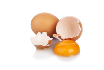 Brown Eggs with one broken