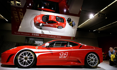 The new F430 Challenge of Italian sports car manufacturer Ferrari is on display below a mirror at th..