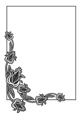 Black and white abstract vertical frame with decorative flowers.