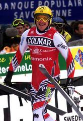 AUSTRIA'S HERMANN MAIER SMILES AFTER WINNING CHAMONIX DOWNHILL.