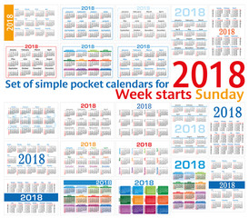 Set of simple pocket calendars for 2018 (Two thousand eighteen). Week starts Sunday