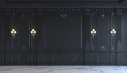 Black wall panels in classical style with silvering. 3d rendering Wall mural