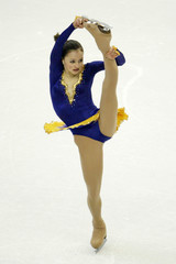 SASHA COHEN PERFORMS QUALIFYING SKATE AT WORLD CHAMPIONSHIPS.