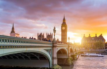 London Westminster Bridge and Big Ben at Dusk