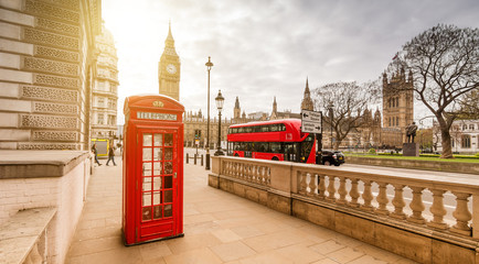 London Red Telephone Booth and Big Ben Clock Tower