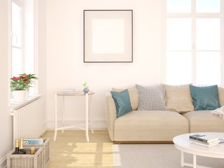 Mock up in fashionable living room with stylish sofa on white background.