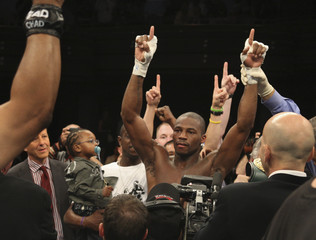 Undefeated Chad Dawson celebrates his victory over IBF light heavyweight champion Antonio Tarver after an IBF title fight at the Palms Resort in Las Vegas