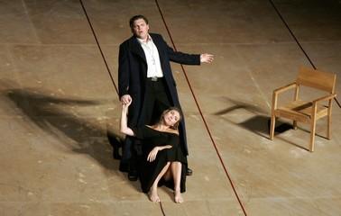 "Opera singers Dasch and Schade perform during a dress rehearsal of Haydn's opera titled ""Armida"" in Salzburg"