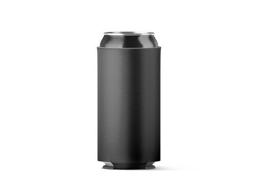 Blank black collapsible beer can koozie mockup isolated, for 500 ml, 3d rendering. Empty neoprene cooler holder mock up for tin beverage. Plain drinkware hugger design template. Clear soda sleeve