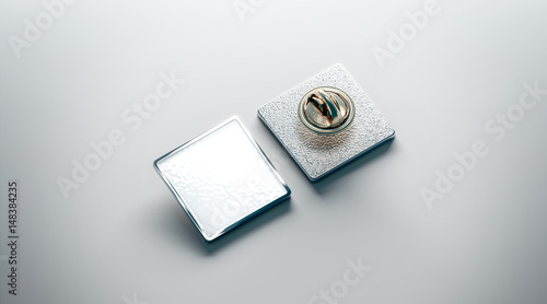 Blank white lapel pin mockup, front and back side view, 3d rendering