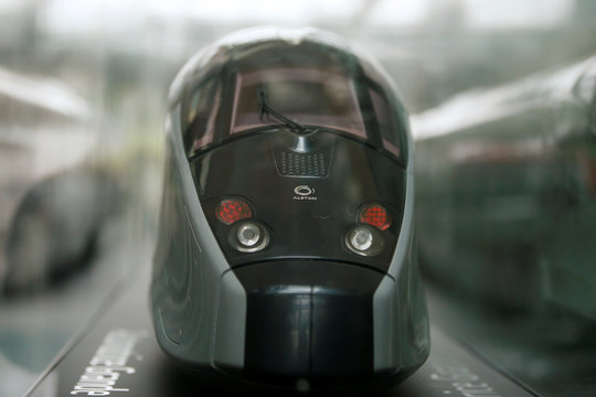 A scale model of an AGV high speed train with the logo of Alstom is seen before a news conference to present the company's full year 2016/17 annual results in Saint-Ouen