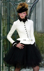 A model for the Chanel fashion house presents this creation by German designer Karl Lagerfeld at the..