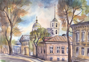 Town street with houses and a Church. Watercolor painting