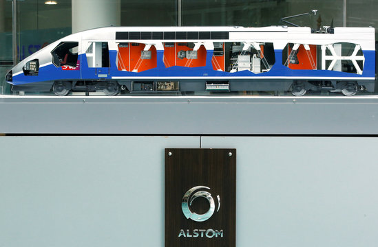 A scale model of a TGV high speed train with the logo of Alstom is seen before a news conference to present the company's full year 2016/17 annual results in Saint-Ouen