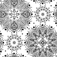 Seamless abstract ornamental pattern on white