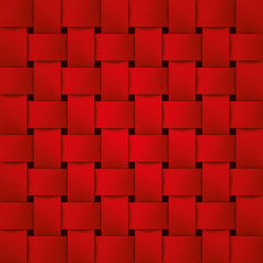 Volume realistic texture, wicker red background, 3d geometric pattern, design vector