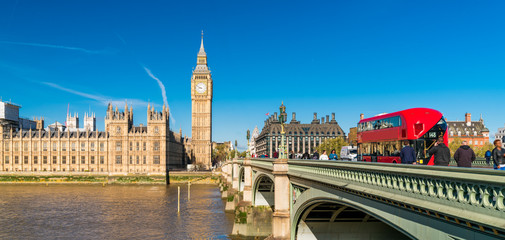 London Houses of Parliament Big Ben and Westminster Bridge