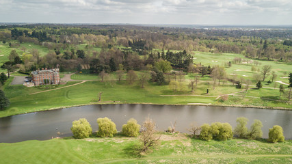 English countryside, grand house and river; aerial view.