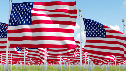 Many American Flags. Three dimensional rendering illustration.