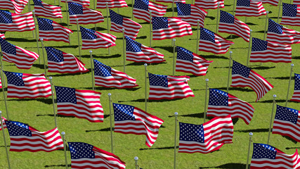 American flags on display for Memorial Day or July 4th. Three dimensional rendering illustration.