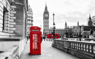 Foto auf Acrylglas London London Telephone Booth and Big Ben