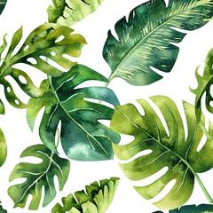 Fototapeta Seamless watercolor pattern of tropical leaves, dense jungle. Ha obraz