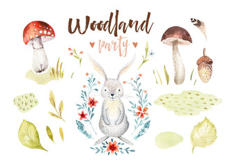 Cute baby rabbit animal nursery isolated illustration for children. Watercolor boho forest drawing, watercolour bunny image Perfect for nursery posters