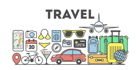 Travel concept illustration. Signs and icons on white background.