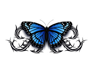Realistic butterfly icon on top of abstract tribal.