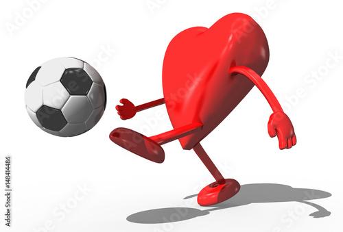 3d Rotes Herz Mit Armen Und Beinen Steht Im Fussballtor Und
