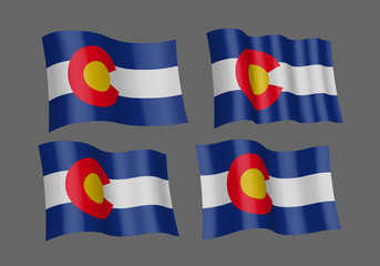 Vector art flags waving illustration: Colorado