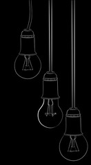 hanging three incandescent lamp sketches on black