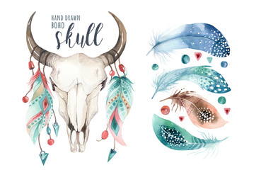 Poster Crâne aquarelle Watercolor bohemian cow skull and feather. Western mammals. Boho hipster deer boho decoration print antlers. flowers, feathers.