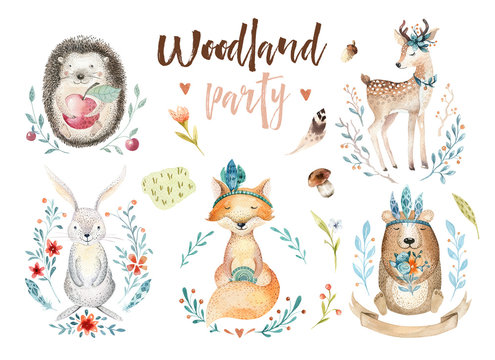 Cute baby fox, deer animal nursery rabbit and bear isolated illustration for children. Watercolor boho forestdrawing, watercolour, hedgehog image Perfect for nursery posters