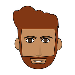 color image cartoon front face guy with beard and mustache vector illustration