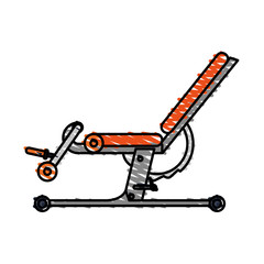 color drawing pencil cartoon gym machine for exercises vector illustration