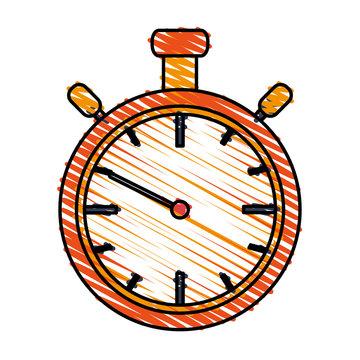color drawing pencil cartoon stopwatch graphic vector illustration