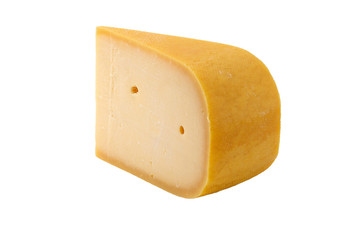 slice of old cheese isolated with clipping path