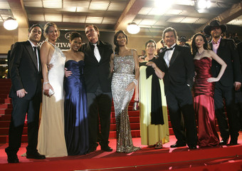 """US director Quentin Tarantino arrives with cast members and guests for gala screening of  """"Death Proof"""" at the 60th Cannes Film Festival"""