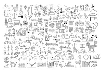 doodle icons set with editable stroke width