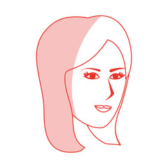 red silhouette shading side profile face woman with straight short hairstyle vector illustration