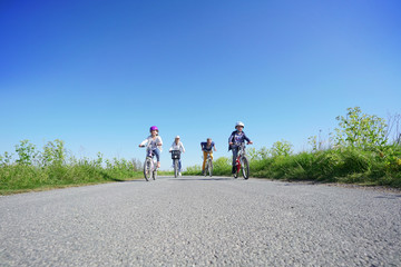Family of four on a biking day