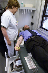 PRESIDENT OF GERMAN PARLIAMENT WOLFGANG THIERSE DONATES BLOOD IN BERLIN.