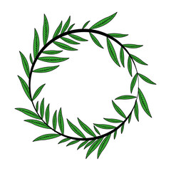 color image decorative crown of elongated leaves in circular shape vector illustration