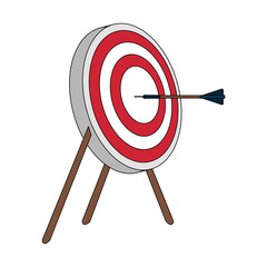 color image side view target in tripod with arrow vector illustration