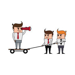 color image cartoon business man and teamwork pulling to him vector illustration